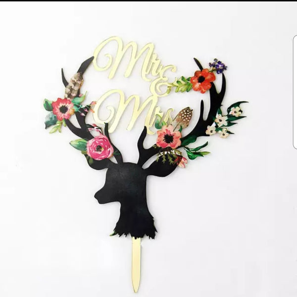 Nr110 Acrylic cake topper Deer Mr and Mrs