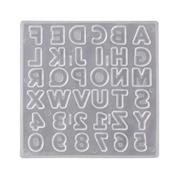 Alphabet soft silicone mould, +-1.5x1.5cm