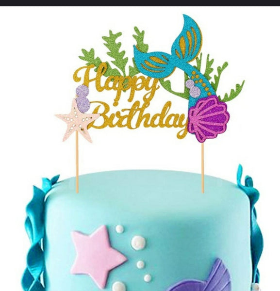 Mermaid Happy birthday cardboard cake topper