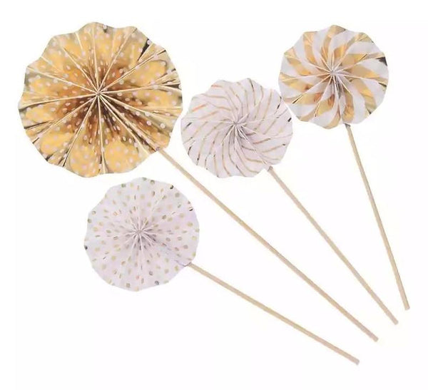 Paper fan cupcake topper stick,gold
