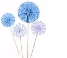Paper fan cupcake topper stick,Baby blue