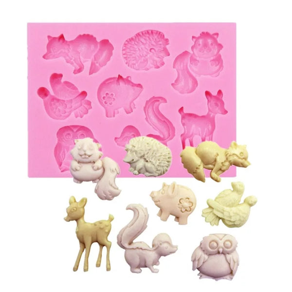 Silicone fondant mould Forest animals, size of moulds 8.5x6.5cm