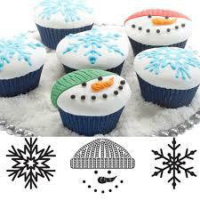 Cupcake and Cookie texture tops scroll winter snow