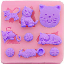 Cats Silicone fondant / sugar paste mould, size of mould 7.5x7.5