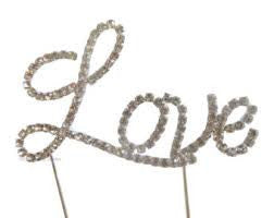 Diamante love cake topper, +- 9cm