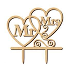 Wooden  wedding Mr & Mrs cake topper, (Nr143)