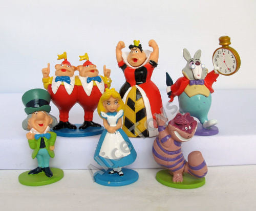 Alice in Wonderland plastic figurine set, 6pcs, size of Alice 8cm, perfect to use as cake topper