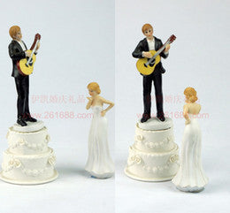 Wedding bride and groom cake topper-C