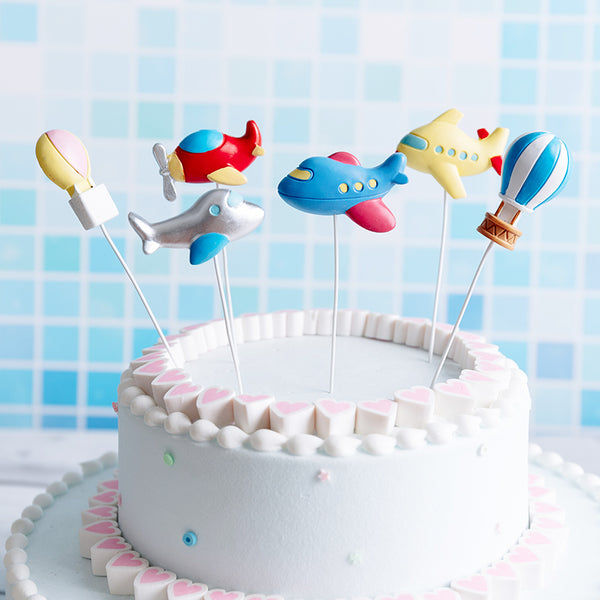 Resin Airplane and Hot Air Balloon Cake Topper set