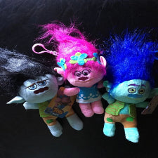 Trolls plush toys with clip , 3 per set. 20cm, SMALL