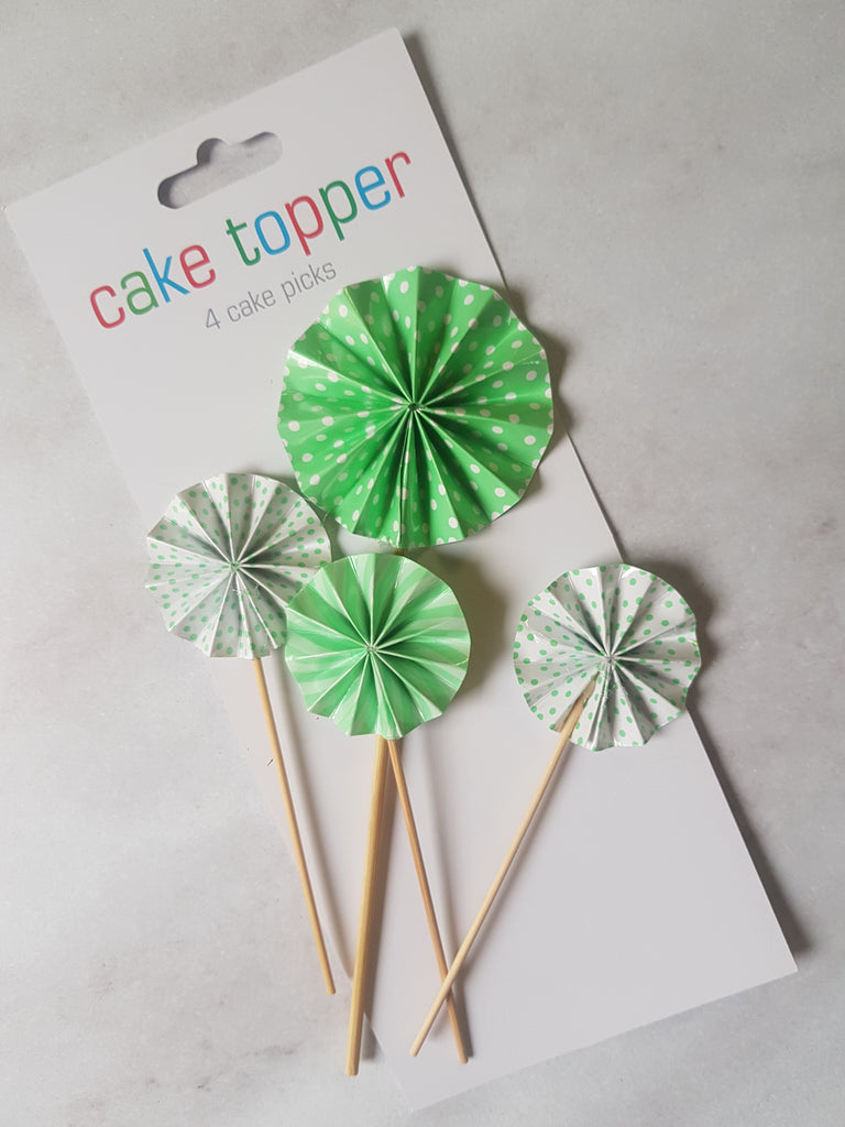 Paper fan cupcake topper stick, Lime green
