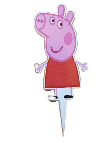 Wooden Peppa Pig Cake Topper, 12x6.7cm