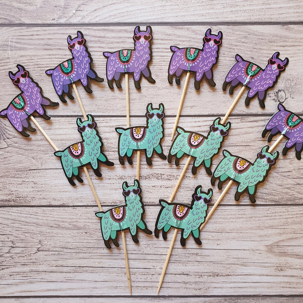 12 Llama cupcake Toppers toothpicks