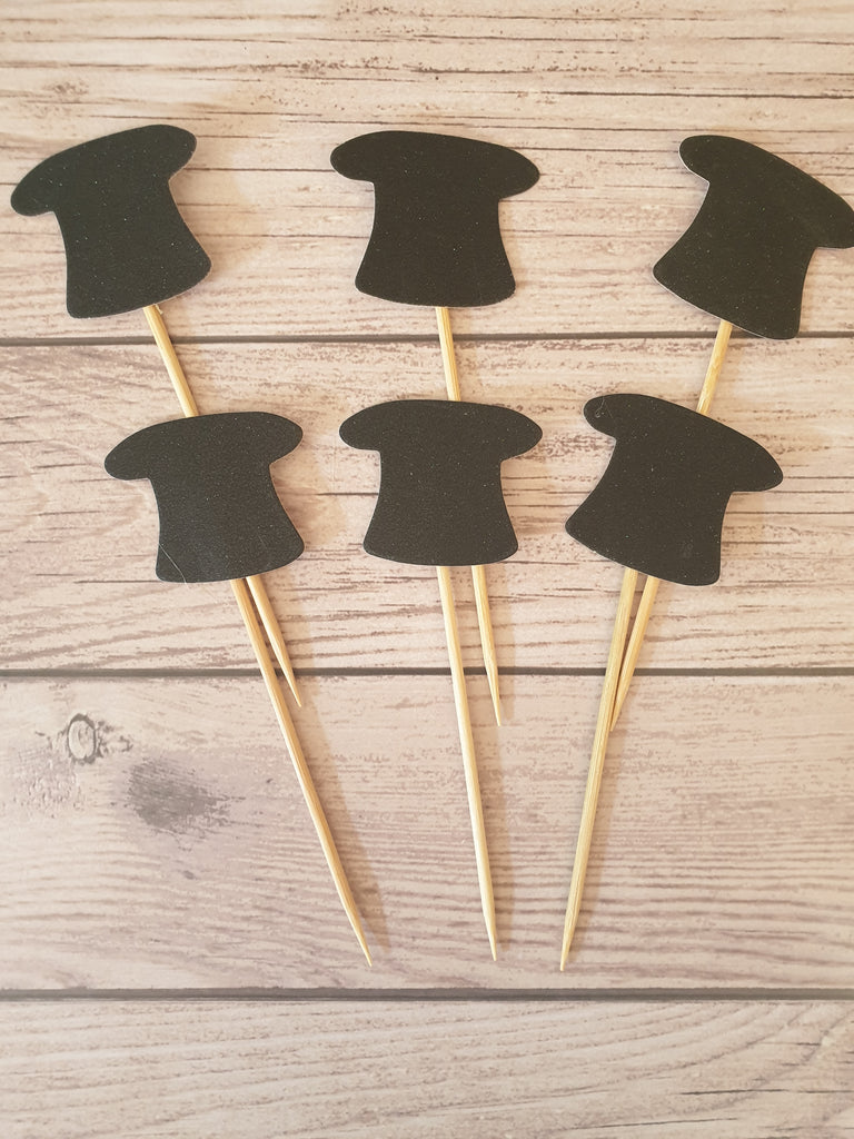 6 Tophat cupcake Topper toothpicks