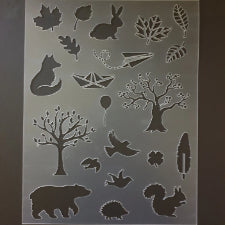 Nature forest animal and trees A4 Stencil