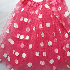 Adult lady tutu skirt - Dark Pink polka dot 40cm