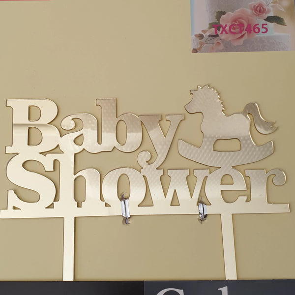 Acrylic cake topper Baby Shower Gold, (Nr28)