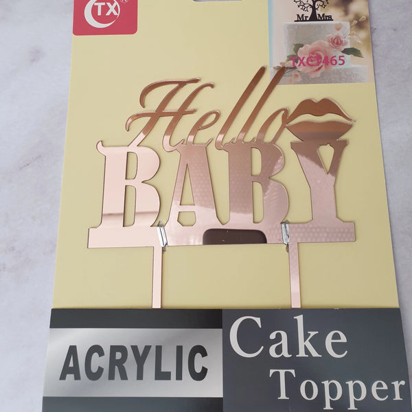 Nr42 Acrylic cake topper Hello Baby Rose Gold
