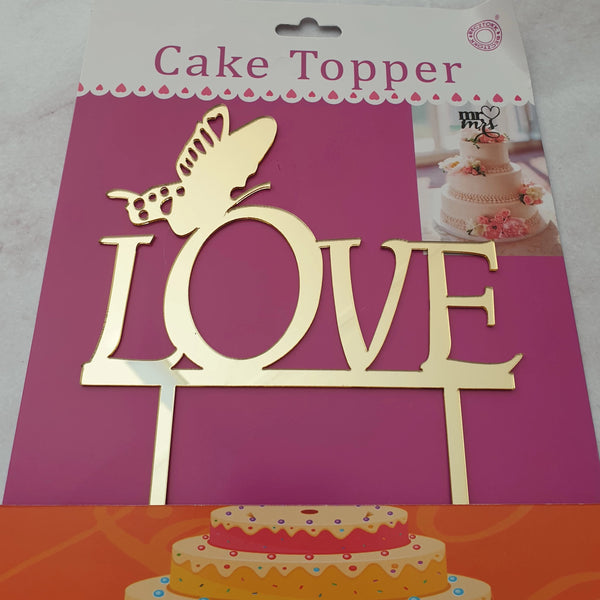 Acrylic cake topper Love Gold, (nr44)