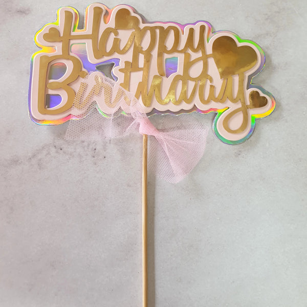 Pink and Gold Happy Birthday cake topper