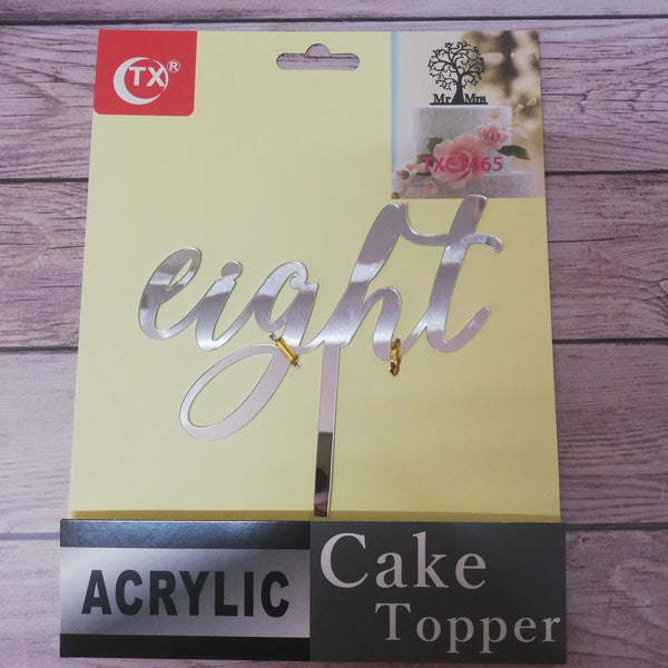 Acrylic cake topper Eight Silver
