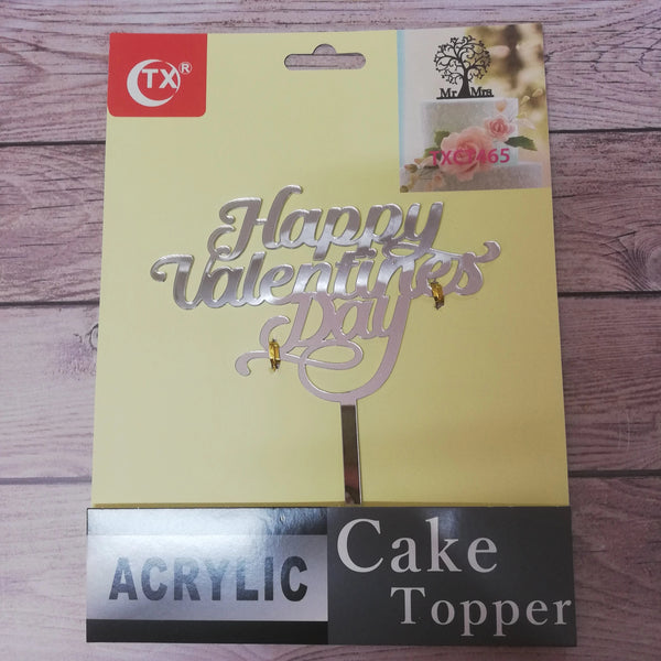 Acrylic cake topper Happy Valentines Silver, (nr22