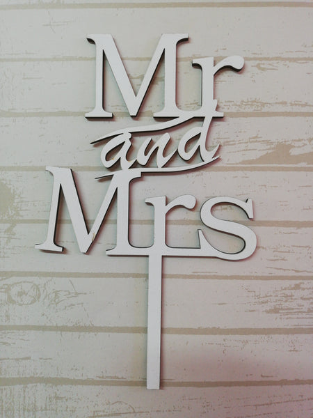 Mr and Mrs White Wooden wedding cake topper, (Nr145)