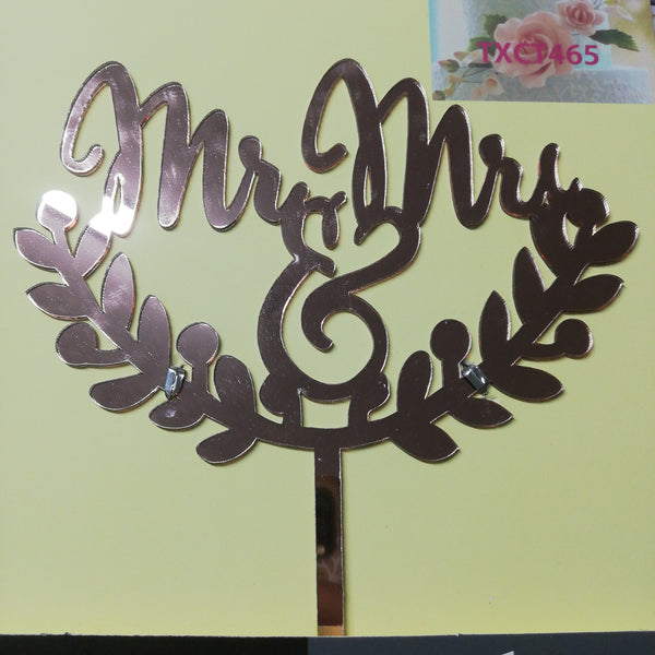 Acrylic cake topper Mr & Mrs Rose Gold, (nr157)