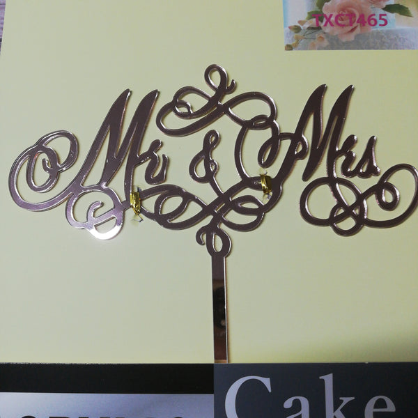 Nr159 Acrylic cake topper Mr & Mrs Rose Gold