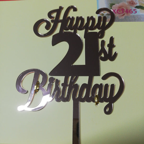 Acrylic cake topper 21st Birthday Rose Gold (nr161)