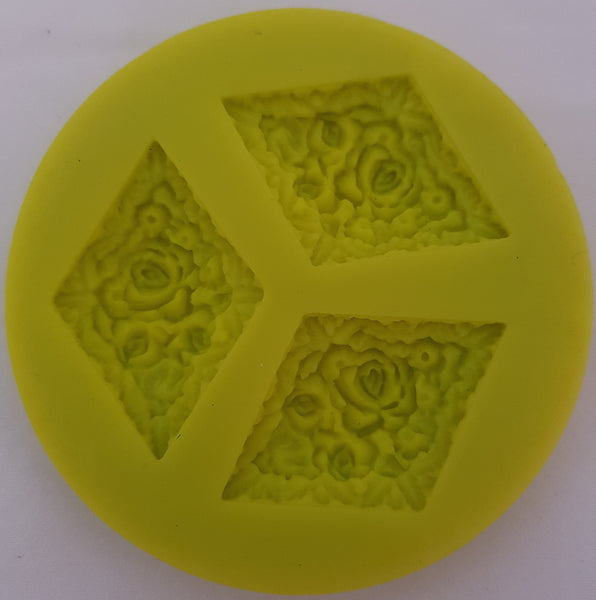 Fondant flower pattern silicone mould, size of embellishment 4.x3cm, KY0143