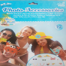 Beach party Photo props on sticks, 12 piece