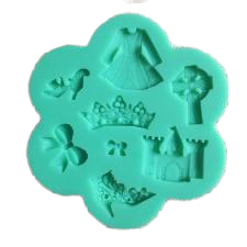 Girly silicone mould, crown 3.5x1.5cm, dress 2.8x3cm
