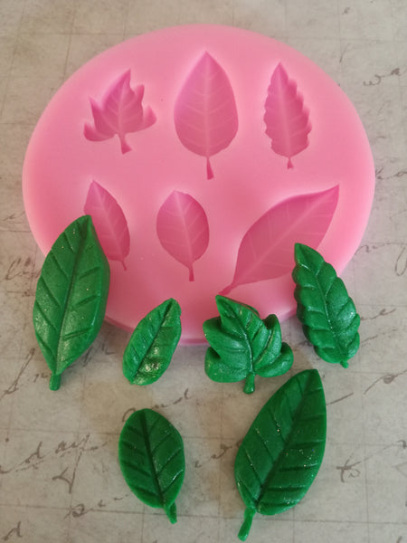 Leaves silicone mould, top left leaf 2x2.5cm
