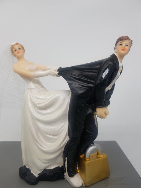 Bride and groom wedding cake topper, 11.5cm