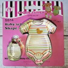 Baby grow and baby bottle cookie cutter metal, 7.5x6cm, 4x2cm