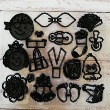 Assorted accessories   patchwork silhouette baby, faces and other Embosser cutters