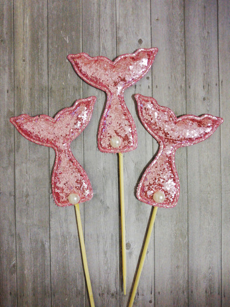 3 Glitter Mermaid Tail material cupcake Toppers toothpicks