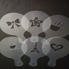 Cupcake/ coffee Stencil XBAK199 bow, star. mug, coffee, eiffel tower, heart, A