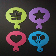 Cupcake/ coffee Stencil XBAK200 gift, star, heart, balloon, C