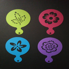 Cupcake/ coffee Stencil XBAK202 flowers and leaves A