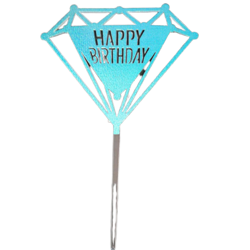 Acrylic cake topper Blue Happy birthday, (Nr109)