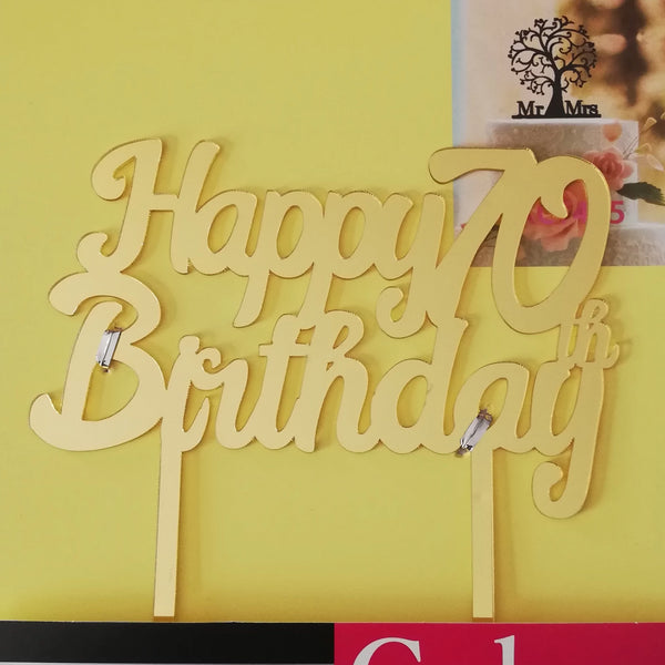 Acrylic cake topper 70th Birthday Gold (Nr27)
