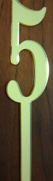 Gold Number 5 acrylic mirror cake topper, 7cm