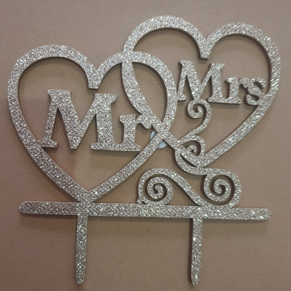 Nr 1 Mr and Mrs White Wooden wedding cake topper, (with glitter)