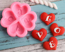 LOVE Heart silicone fondant mould, 4x4.5cm