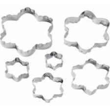 Double cut-outs metal cookie cutter 6pc set