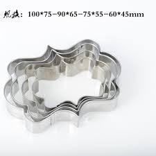 Frame box metal cookie cutter set, 10x7.2cm, 9x6.3cm, 7.5x5.3cm, 6.3x4.3cm