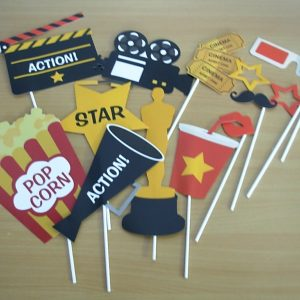 Movie film party Photo props on sticks, 12 piece