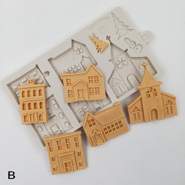 Christmas House, Church Building Silicone fondant mould